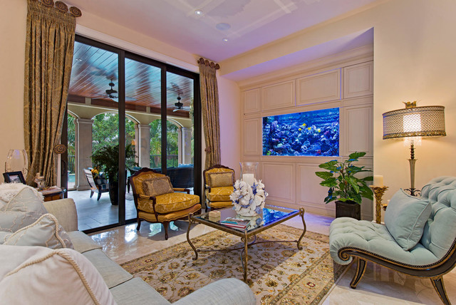 Marge Carson Furniture Living Room Traditional with Aquarium Area Rug Arm Chairs Cord Damask Draperies Fish