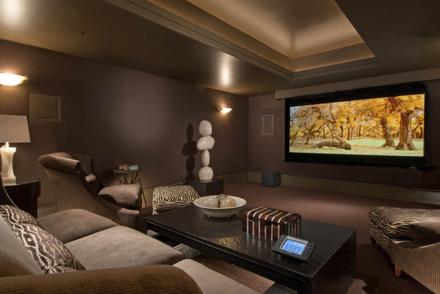 Mark Rothko Prints Home Theater Contemporary with Animal Print Bowl Chocolate Brown Cove Ceiling Marble Media