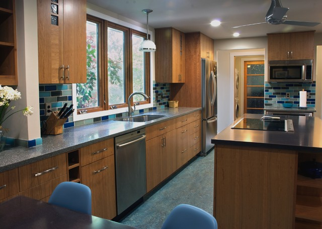 marmoleum flooring Kitchen Traditional with alchemy counters ceiling fan ceiling lighting cherry cabinets cherry