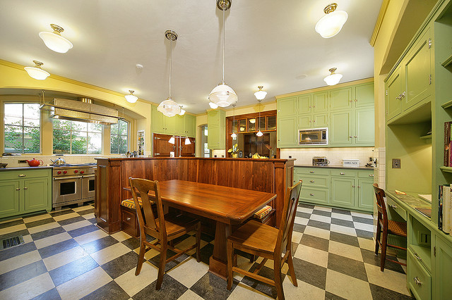 Marmoleum Flooring Kitchen Traditional with Banquette Built in Desk Built in Storage Crown Molding Dining Table