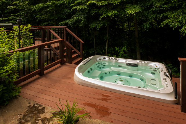 marquis hot tub Deck Traditional with glass deck panels hot tub spa steps