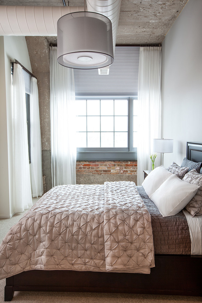 Masculine Bedding Bedroom Industrial with Bed Room Brick Wall Drum Pendant Exposed