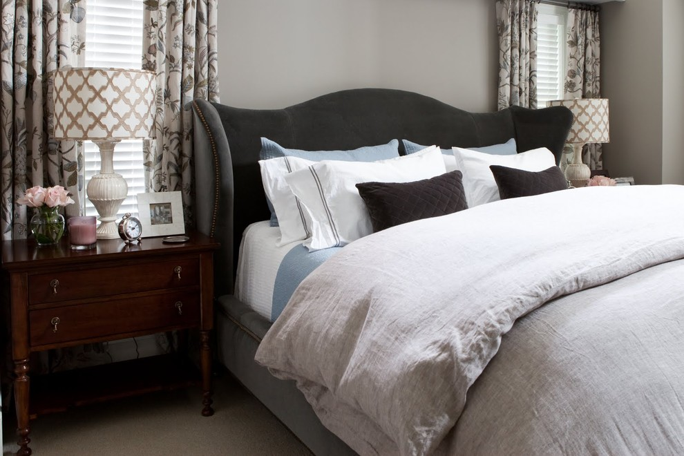 Masculine Bedding Bedroom Transitional with Bed Pillows Bedside Table Curtains Drapes Hotel