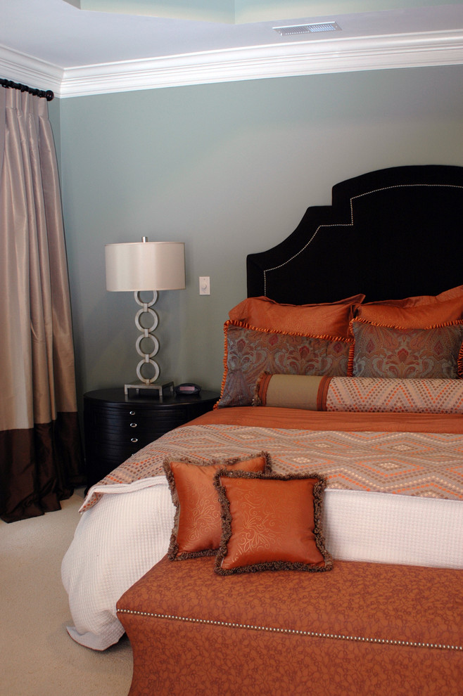 Massoud Furniture Bedroom Contemporary with Bedside Table Black Headboard Crown Molding Curtains