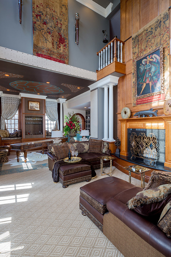 Massoud Furniture Spaces Eclectic with Architectural Salvage Balcony Bar Cabinet Ceiling Mural