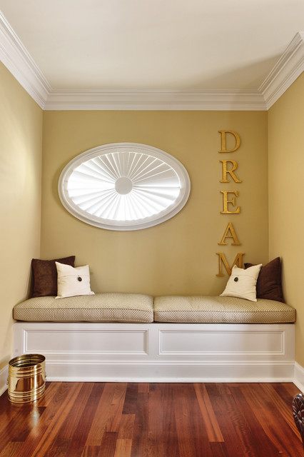 Meditation Bench Bedroom Contemporary with Baseboards Crown Molding Decorative Pillows Gold Metallic Neutral Colors