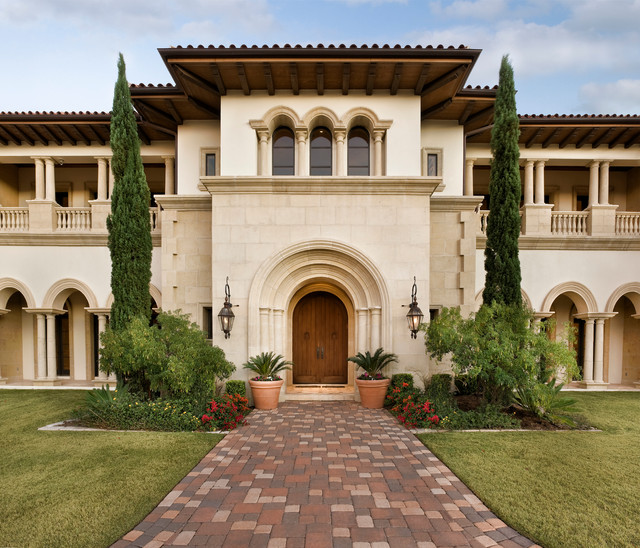 mediterranea tile Exterior Mediterranean with arch windows arched doorway arched wood doors balcony Balcony