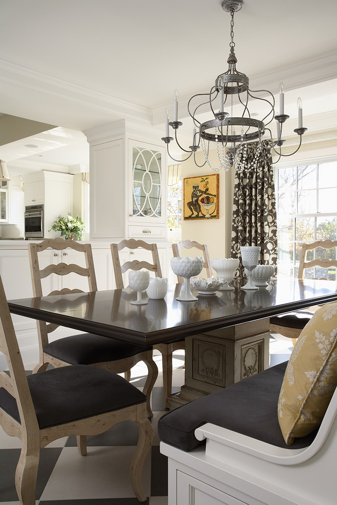 Mercury Glass Chandelier Kitchen Traditional with Banquette Black and White Floor Breakfast Room