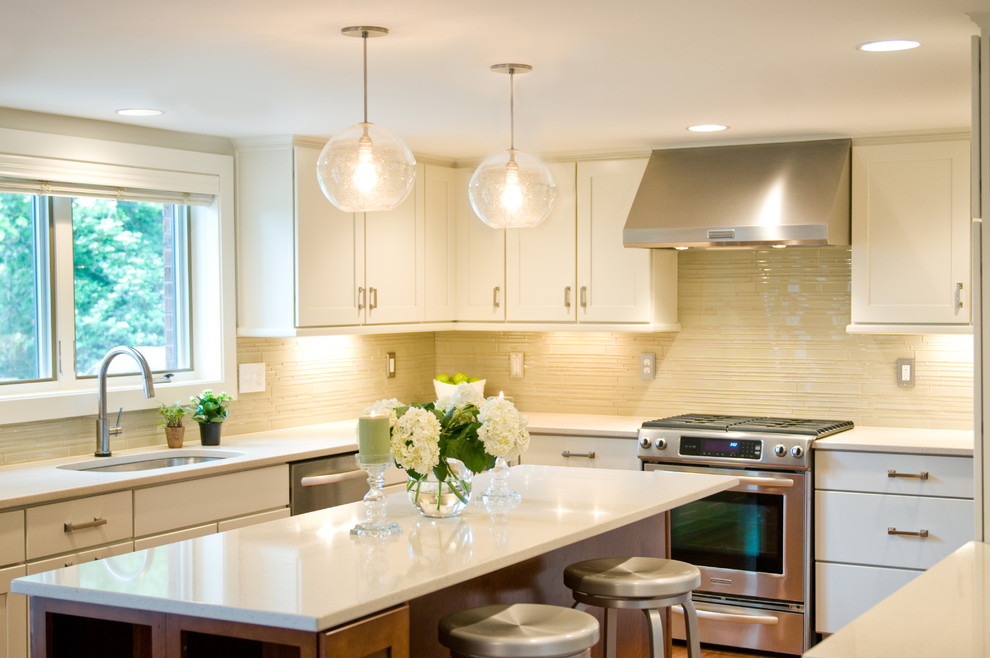 Mercury Glass Pendant Light Kitchen Transitional with Barstools Bright Kitchens Cherry Cabinets Cream Tile
