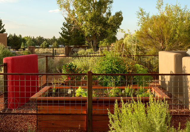 mesh fencing Landscape Eclectic with enclosed garden high raised bed kitchen garden Mesh fencing
