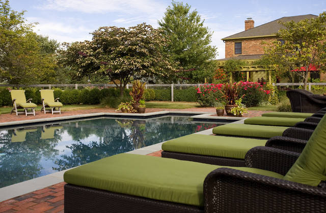 Mesh Fencing Spaces with Brick Pool Deck Chimney Garden Fence Green Seat Cushions