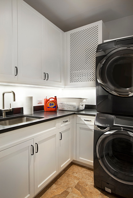Mesh Laundry Bag Laundry Room Traditional with Black and White Black Countertop Black Granite Top Brushed