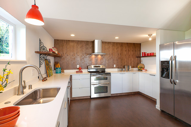 Metal Corbels Kitchen Contemporary with Brown Floor Ceiling Light Double Oven Floating Shelf Metal