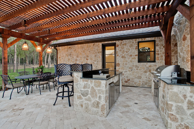 Metal Corbels Patio Mediterranean with Covered Patio Grill Integrated Grill Metal Counter Stool Metal