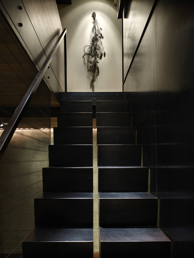 metal handrail Staircase Contemporary with dark wood divided stairs los angeles architects