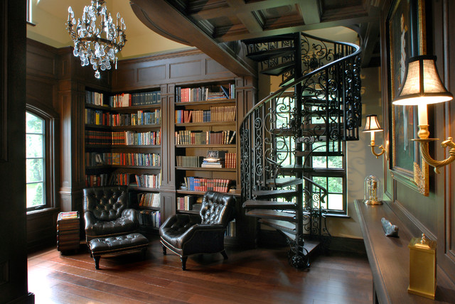 Metal Spiral Staircase Home Office Traditional with Dark Wood Bookcases Filagree Railing Home Library Metal Spiral