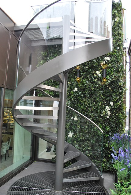 Metal Spiral Staircase Staircase Contemporary with Curve Glass Balustrade Design Stairs External Balustrade Modern Staircases