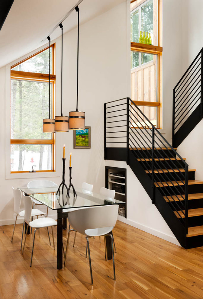 metal stair railing Dining Room Contemporary with beige pendant light branch candleholders branch candlestick