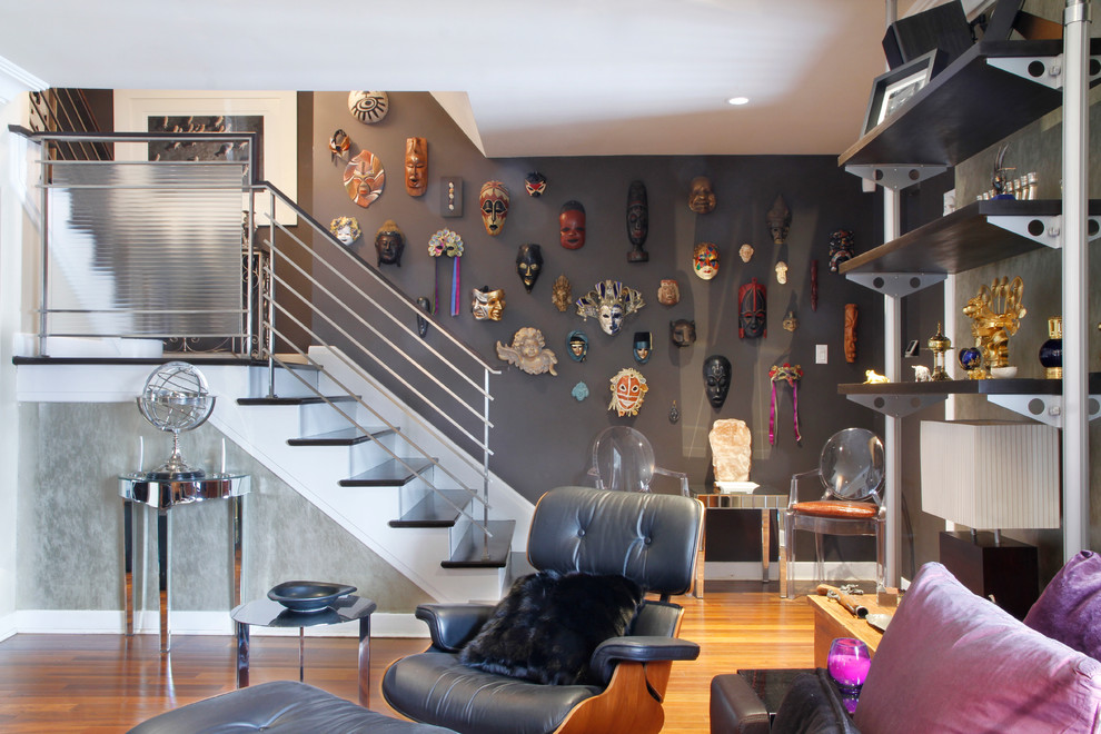 Metal Stair Railing Living Room Eclectic with Eames Lounge Chair Eclectic Masks Frosted Glass