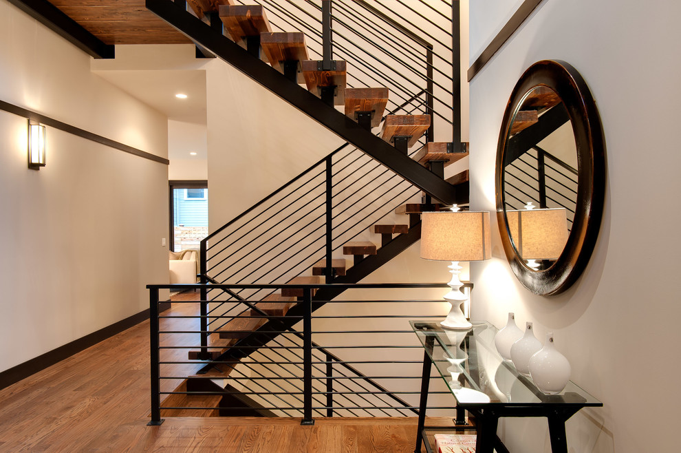 Metal Stair Railing Staircase Contemporary with Beige Wall Brown Molding Brown Round Mirror