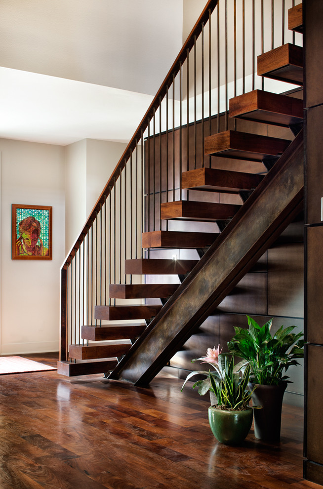 Metal Stair Railing Staircase Contemporary with Custom Floating Stairs Floating Treads Mesquite Stairs