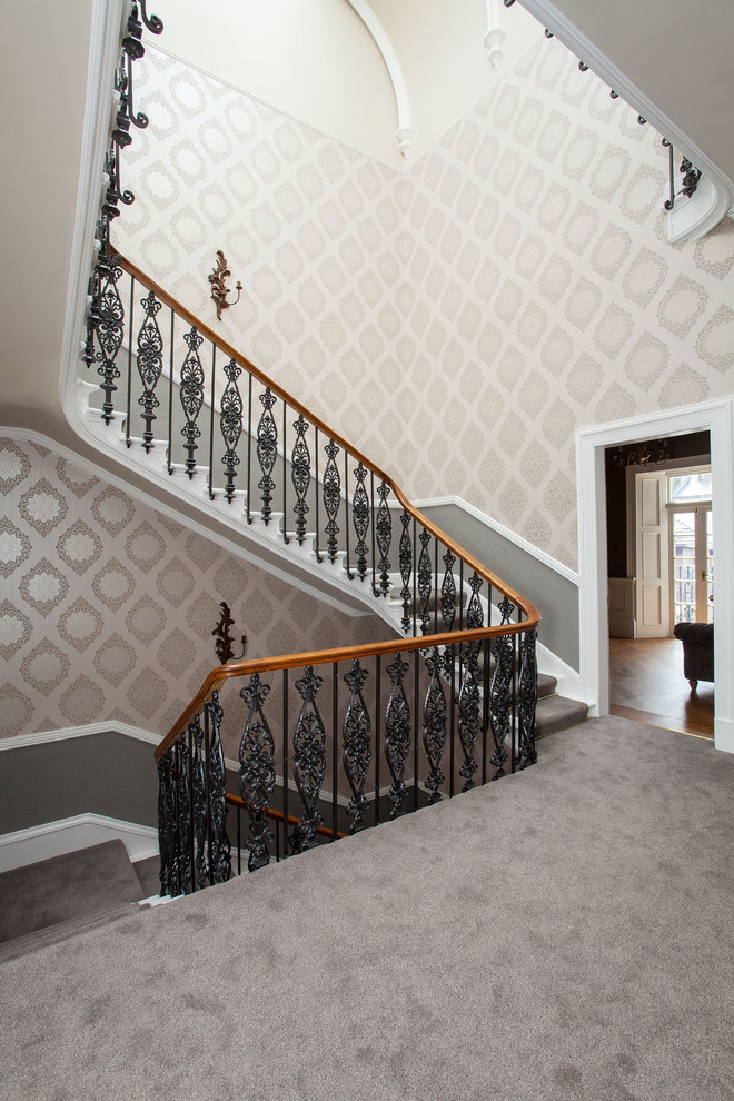 Metal Stair Railing Staircase Traditional with Beige Wallpaper Carpeted Stairs Grey Carpet Grey