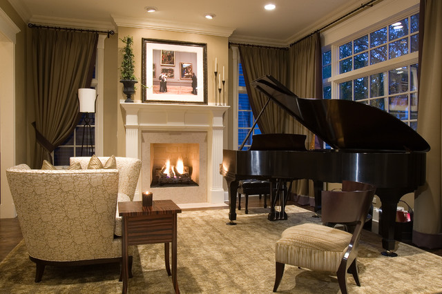 Michael Amini Furniture Living Room Traditional with Area Rug Ceiling Lighting Curtains Drapes End Table Fireplace