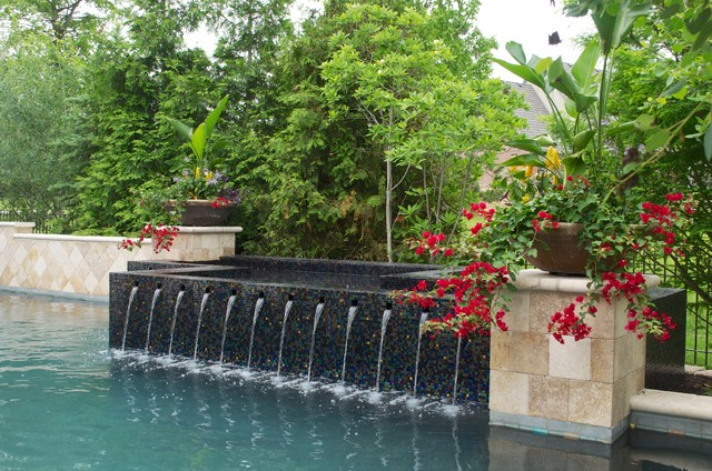 Michael Phelps Swim Spa Pool Traditional with Annual Flower Pots Annual Flowers Black Mosaic Tile Black