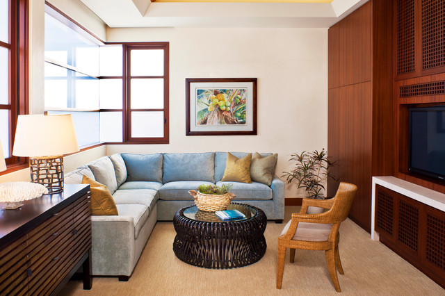 Microfiber Couch Family Room Contemporary with Artwork Bentwood Buffet Built in Tv Cabinets Cane Furniture Carpeting