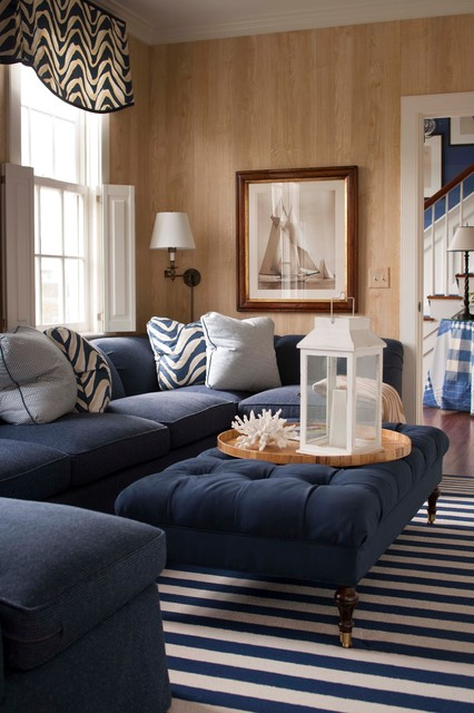 Microfiber Couch Family Room Traditional with Blue Coral Denim Lantern Nautical Navy Pillows Shutters Stripe