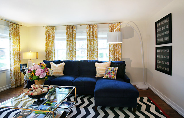 Microfiber Couch Living Room Eclectic with Arc Lamp Black and White Chevron Curtains Electric Blue