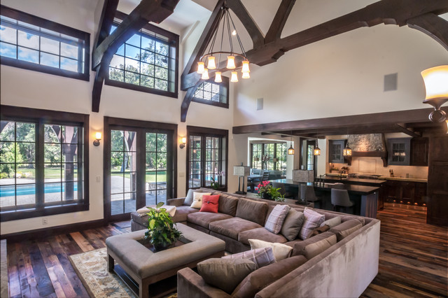 Microfiber Couch Living Room Rustic with Dark Wood Beams Dark Wood Trusses Gray Sectional Sofa