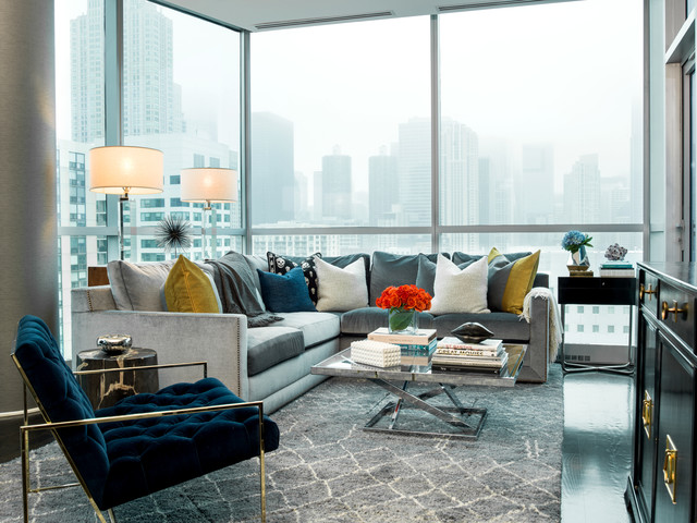 Microfiber Sectional Living Room Contemporary With Decorative Throw Pillows  Full Height Windows Gray Area Rug