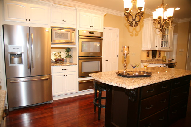 Microwave Convection Oven Combo Kitchen Traditional With Double Ovens French Door Refrigerator Granite Hardwood Flooring