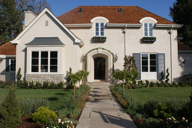 Mid America Shutters Exterior Traditional with Arch Front Door Grass Lantern Lawn Outdoor Lighting Path