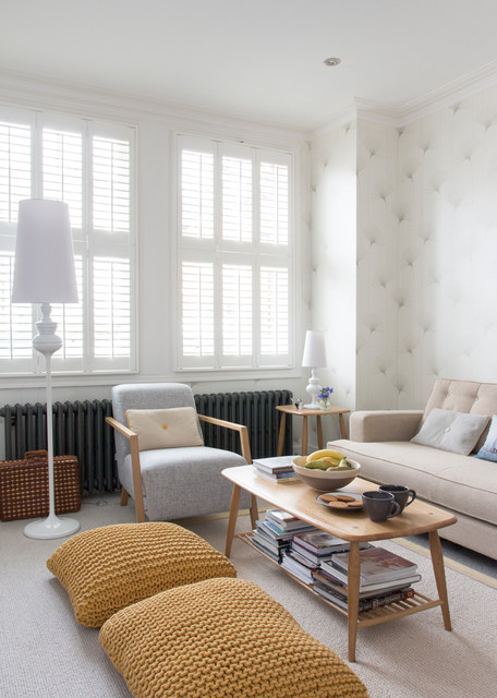Mid America Shutters Living Room Contemporary with Beige Couch Convex Mirrors Ercol Knitted Pillows Mustard Pillows