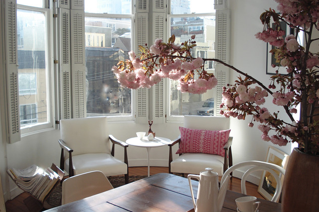 Mid America Shutters Living Room Shabby Chic with Bay Window Bentwood Chair Blinds Bohemian Modern Cherry Blossom