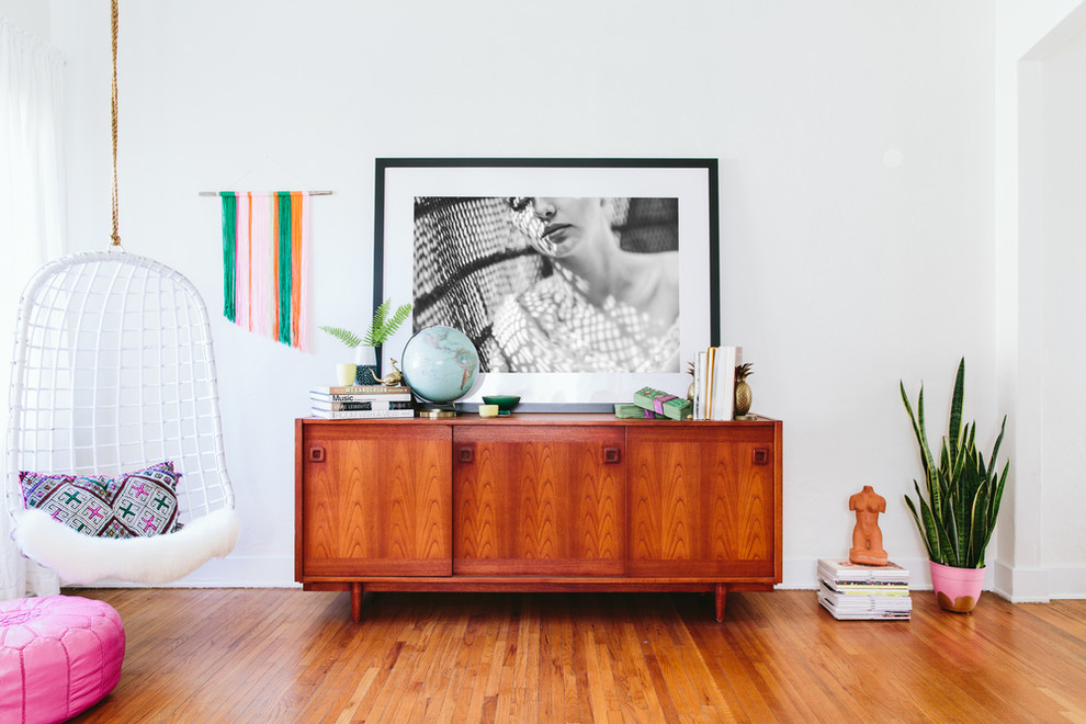 Mid Century Credenza Living Room Eclectic with Colorful House Framed Art Hanging Indoor Swing