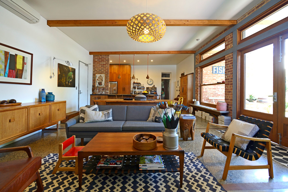 Mid Century Modern Living Room Midcentury with Australian Ecclectic Exposed Beams Grey Lounge Mid