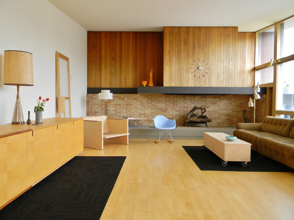 Mid Century Modern Living Room Midcentury with Brick Carpet Squares Casters Diy Do It