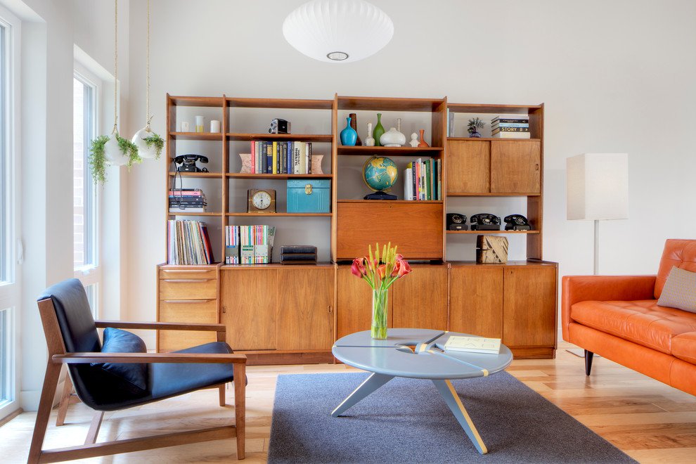 mid century modern bookcase Living Room Scandinavian with black leather lounge bookcase collection globe houseplants