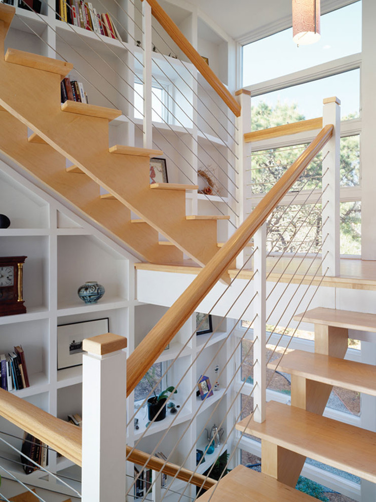 Mid Century Modern Bookcase Staircase With Bridge Built In Shelves Cable Rail Cablerail Custom