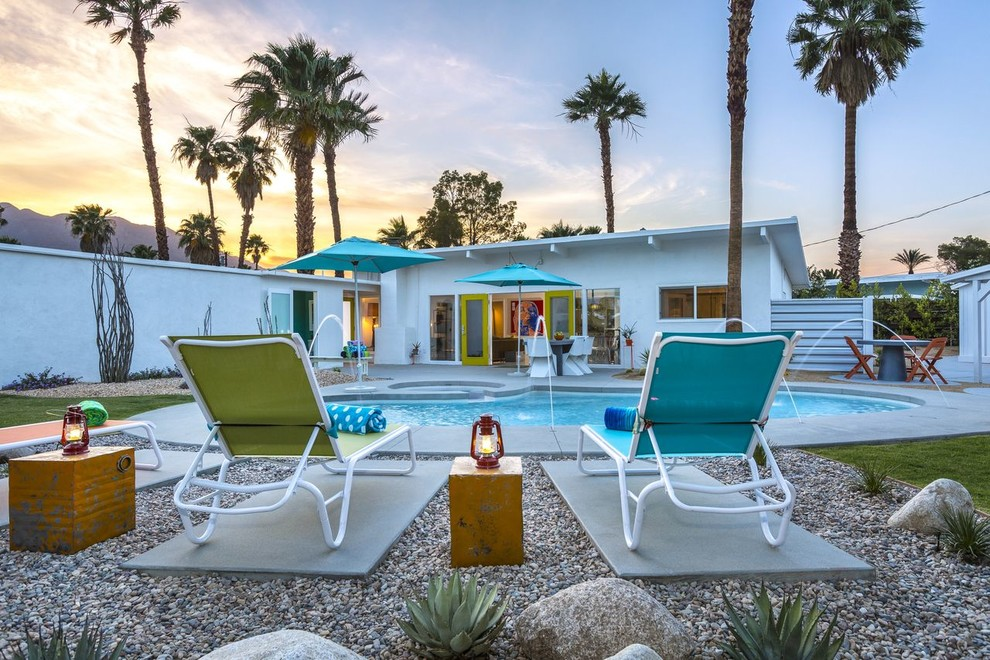 Mid Century Rocking Chair Pool Midcentury with Colorful Accents Desert Landscape Green Door Kidney1