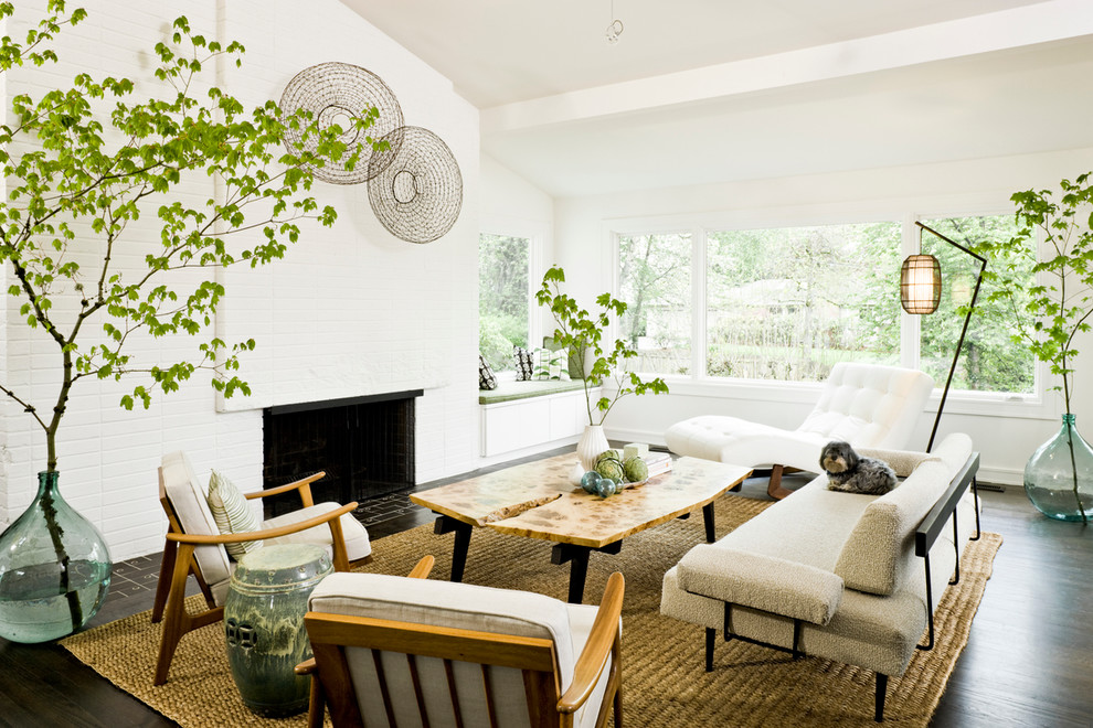 midcentury modern Living Room Midcentury with branches chaise lounge clean dark floor demijohns