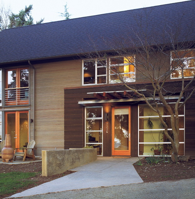 Milgard Windows Exterior Contemporary with Adirondack Chairs Concrete Paving Eaves Entrance Entry Front Door