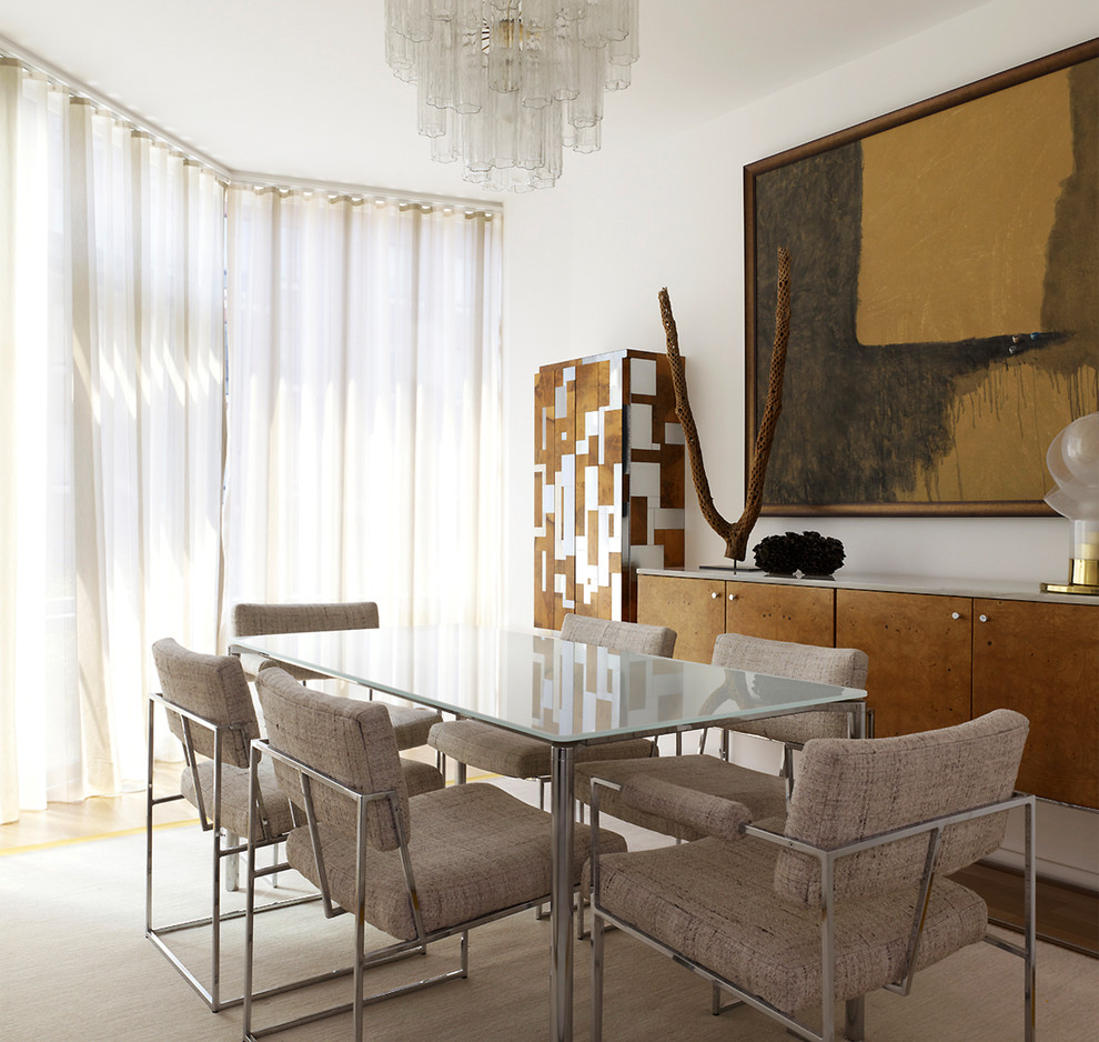 Milo Baughman Chair Dining Room Contemporary with Abstract Art Abstract Painting Dining Room Glass
