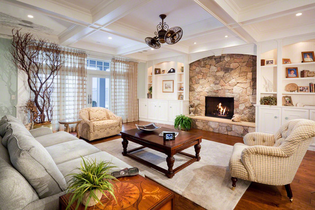 minka fans Living Room Traditional with built in cabinetry ceiling fan coffee table coffered ceiling