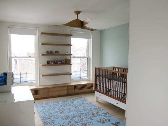 Minka Fans Nursery Contemporary with Accent Wall Bamboo Cabinetry Brownstone Ceiling Fan Double Hung