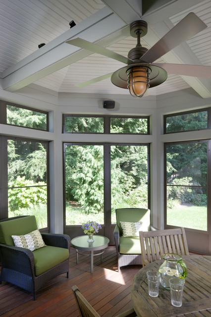 Minka Fans Porch Traditional with Beams Ceiling Fan Green Green Seat Cushions Porch Screen