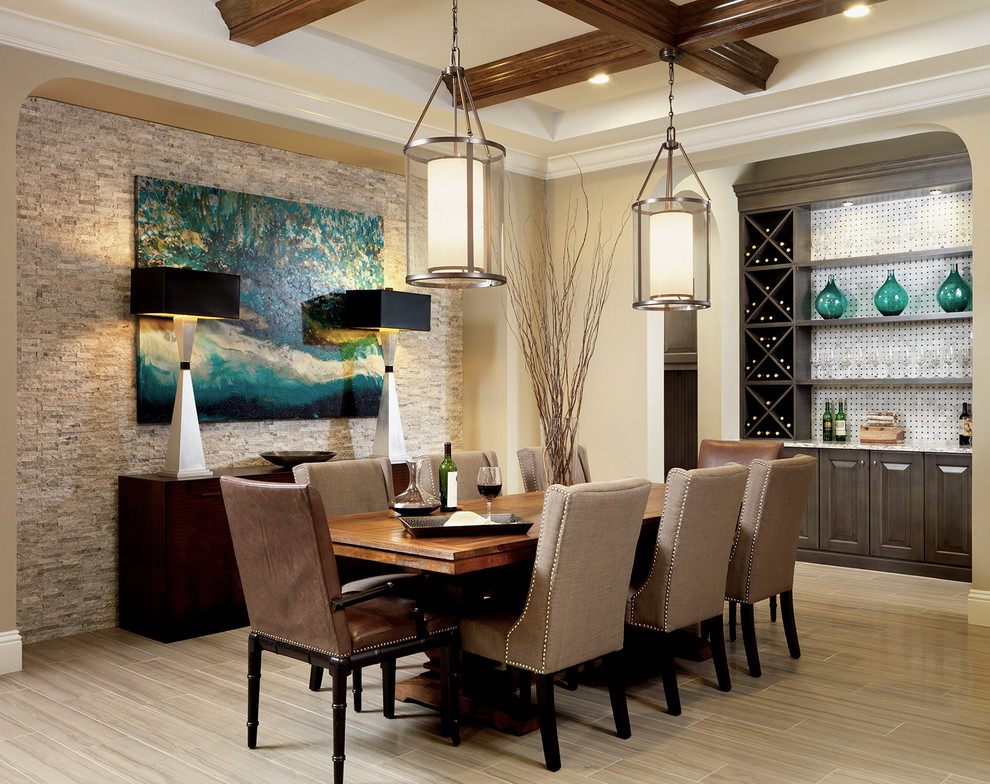 Minka Lavery Dining Room Transitional with Archway Beams Buffets Sideboards Built in Coffered